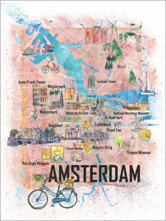 Canvas print  Amsterdam city map - M. Bleichner
