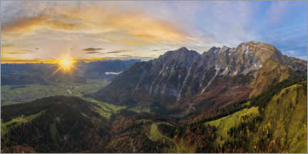 Acrylic print  Hoher Göll with a view of the Salzach Valley at sunrise - Dieter Meyrl