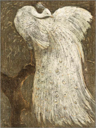 Canvas print  White peacock on a branch - Theo van Hoytema
