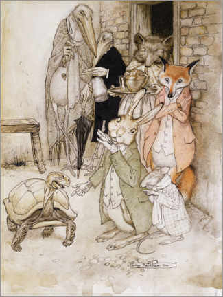 Premium poster  The hare and the turtle - Arthur Rackham