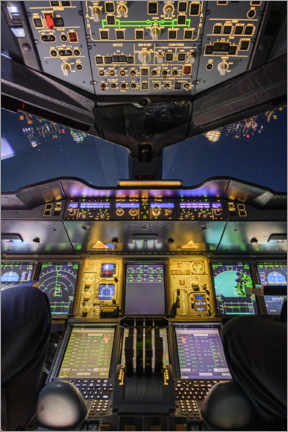 Acrylic print  Airbus A380 Cockpit at Night - Ulrich Beinert
