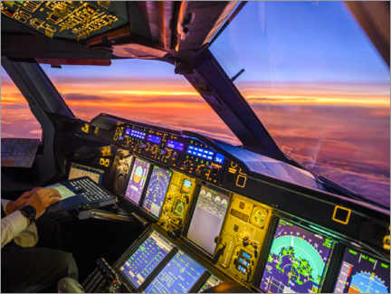 Acrylic print  A380 cockpit at dusk - Ulrich Beinert