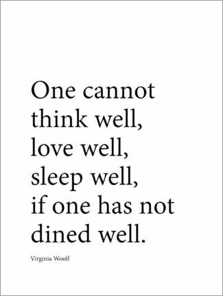 Acrylic print  Dine well - Virginia Woolf quote - Finlay and Noa