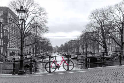 Acrylic print  Red Bicycle in Amsterdam - George Pachantouris