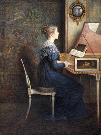 Premium poster  Woman plays the piano - William John Hennessy