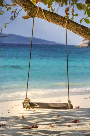 Acrylic print  Wooden swing on the sandy beach - Uwe Merkel