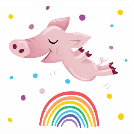 Canvas print  Rainbow Pig - Heyduda