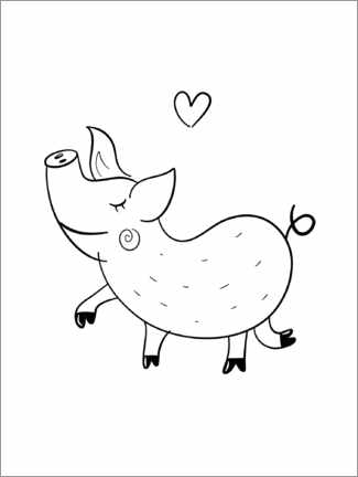 Premium poster Lucky pig lineart