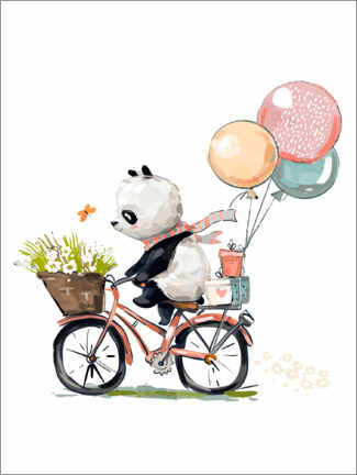 Wood print  Panda on a Bike - Kidz Collection