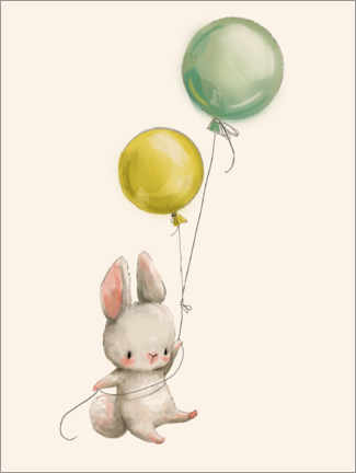 Premium poster  Bunny with Balloons - Kidz Collection