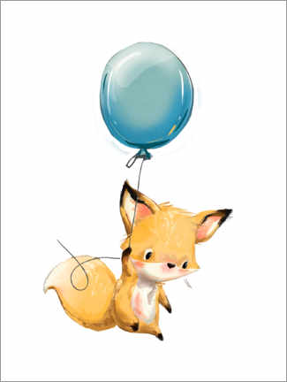 Premium poster  Little fox with balloon - Kidz Collection