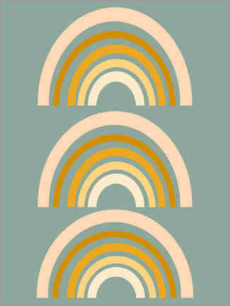 Premium poster  Rainbow geometry - apricot and birch