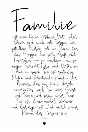 Premium poster Family - a poem (German)