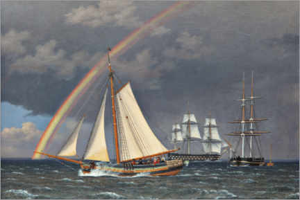 Premium poster  Rainbow at sea with some cruising ships - Christoffer Wilhelm Eckersberg