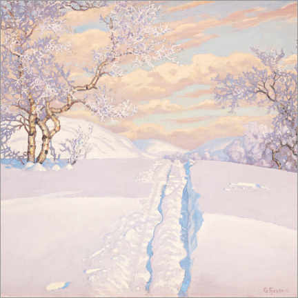 Canvas print  Winter Landscape with Ski Tracks - Gustaf Edolf Fjæstad