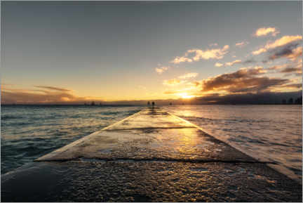 Canvas print  Jetty by the ocean at sunset, Hawaii - Road To Aloha