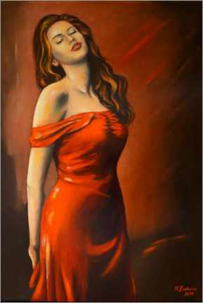 Premium poster Lady in red dress