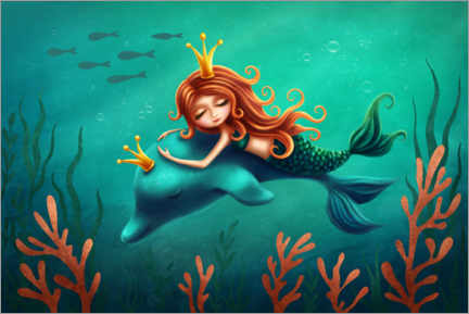 Premium poster  Little Mermaid and Dolphin - Elena Schweitzer