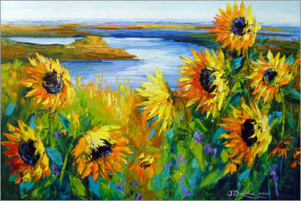 Premium poster  Sunflowers on the river - Olha Darchuk