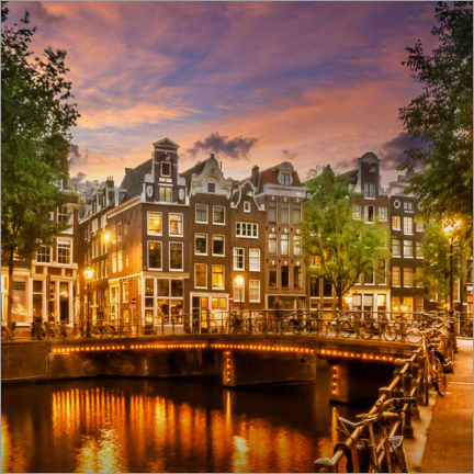 Canvas print  Evening idyll on the Singel, Amsterdam - Melanie Viola