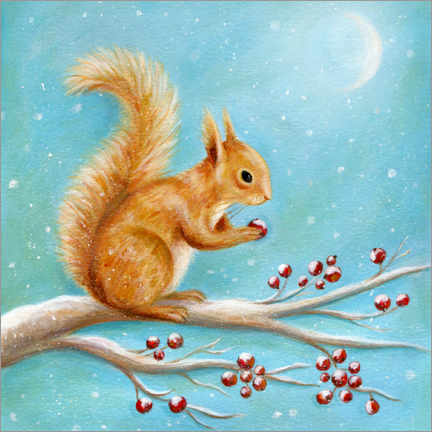 Premium poster  Squirrel with winter fruits - Ileana Oakely