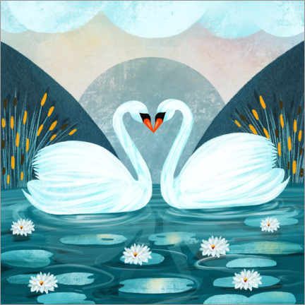 Foam board print  Pair of Swans - Grace Andersson
