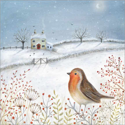 Premium poster  European robin in winter - Ileana Oakely