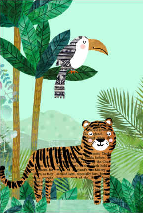 Premium poster  Tiger and toucan - GreenNest