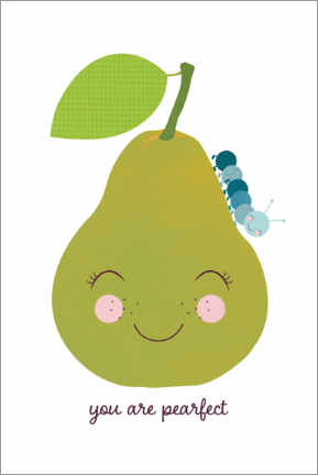 Premium poster Pear and blue caterpillar