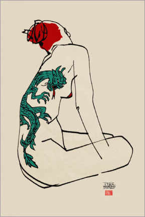 Canvas print  Nude with dragon tattoo - Pieter Hogenbirk