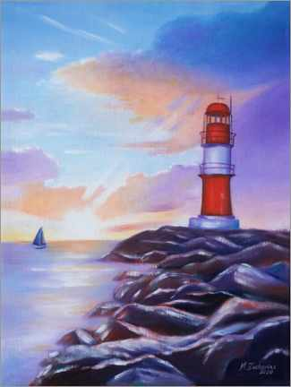 Premium poster  Sunrise at the lighthouse - Marita Zacharias