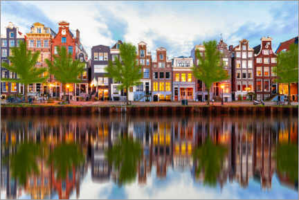 Acrylic print  Beautiful canal houses in Amsterdam, Holland - George Pachantouris
