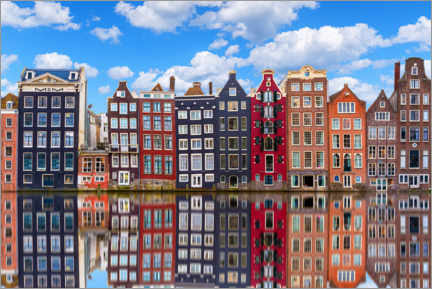 Canvas print  Houses are reflected on the canal, Amsterdam - George Pachantouris