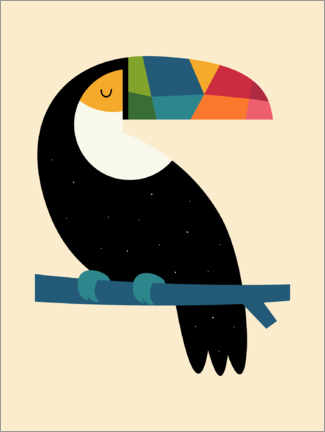 Wood print  Rainbow Toucan - Andy Westface