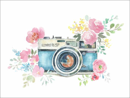 Acrylic print  Vintage camera with flowers - Kidz Collection