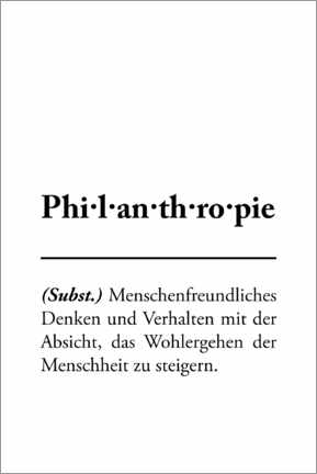 Acrylic print  Philanthropy - definition (German) - Typobox
