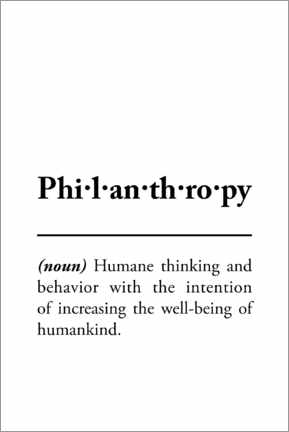 Acrylic print  Philanthropy - definition - Typobox