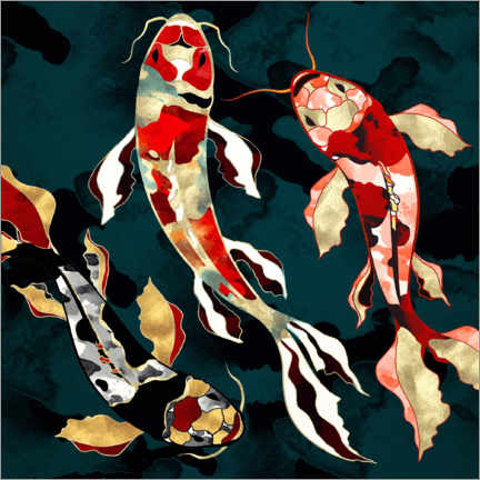 Acrylic print  Metallic Koi - SpaceFrog Designs