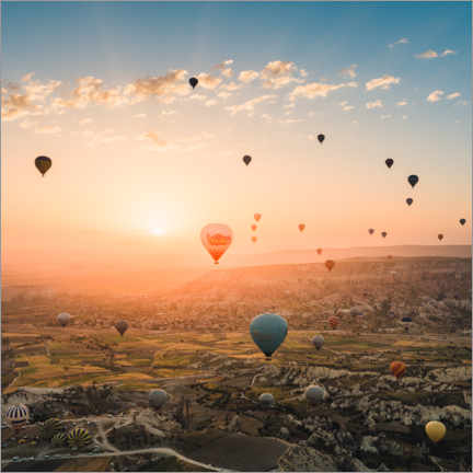 Premium poster  Balloon Flight at Sunrise over Cappadocia - Marcel Gross