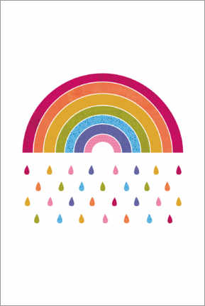 Premium poster  Colourful rainbow rain - Jaysanstudio