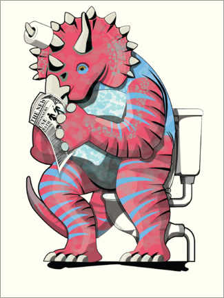 Foam board print  Triceratops on the toilet - Wyatt9