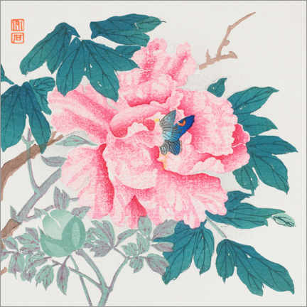 Canvas print  Peony and butterfly - Nagamachi Chikuseki