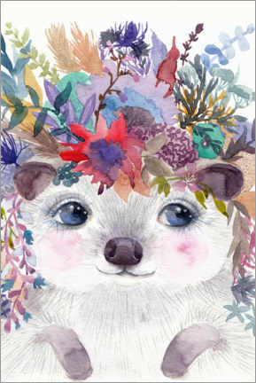 Premium poster  Hedgehog with Flowers - Daria NovArt