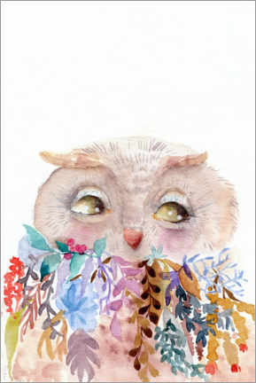 Canvas print  Owl with flowers - Daria NovArt