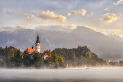 Premium poster  Morning light on Lake Bled - André Wandrei