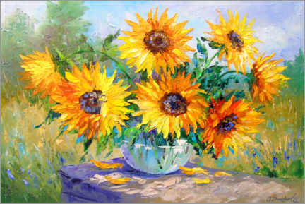 Premium poster  Bouquet of sunflowers in nature - Olha Darchuk