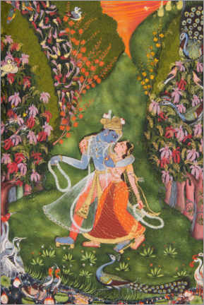 Premium poster  Radha and Krishna walk in a flowering forest