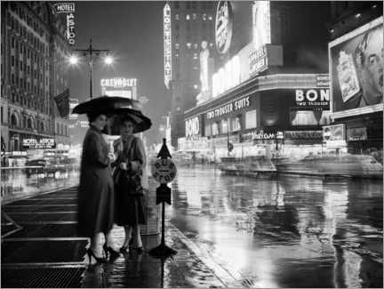 Acrylic print  Two women under umbrellas in New York