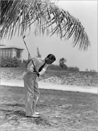 Canvas print  Golfer under palm trees in Florida, 1930s