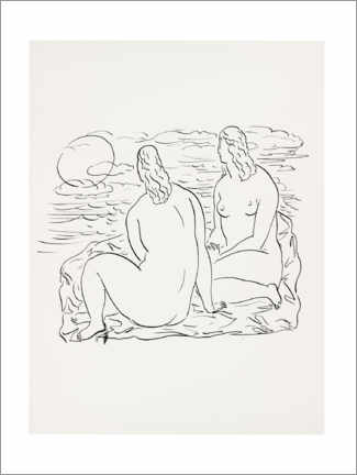 Premium poster  Two nude women sitting by the sea - Leo Gestel